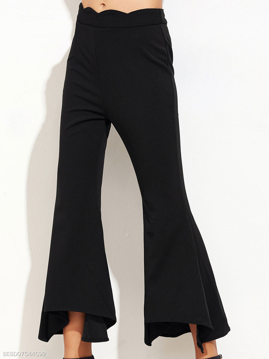 Plain  Flared  Mid-Rise Casual Pants For Women