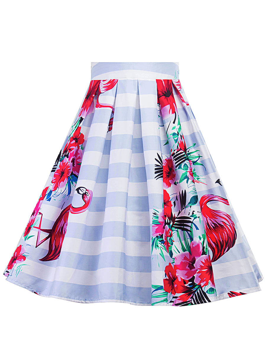 Inverted Pleat Floral Striped Flared Midi Skirt