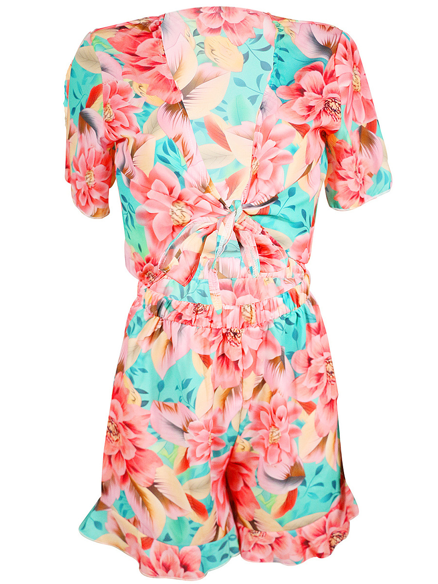 Deep V-Neck Exposed Navel Floral Printed Romper