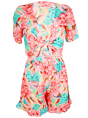 Deep-V-Neck-Exposed-Navel-Floral-Printed-Romper
