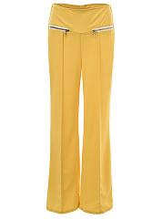 Zips-Plain-Wide-Leg-High-Rise-Casual-Pants