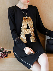 Round Neck  Zips  Glitter  Hollow Out  Polyester Shift Dress
