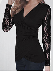Spring Summer  Polyester  Women  V-Neck  Decorative Lace  Hollow Out Plain Long Sleeve T-Shirts