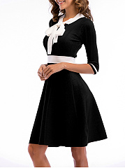 Tie Collar  Color Block Colouring Skater Dress