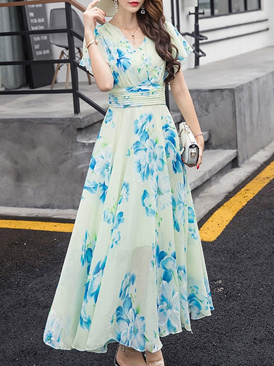 Summer V-Neck Floral Printed Chiffon Maxi Dress