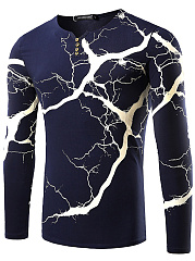 Split Neck  Printed  Long Sleeve Long Sleeves T-Shirts