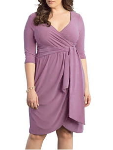 Deep V-Neck  Plain Plus Size Bodycon Dress