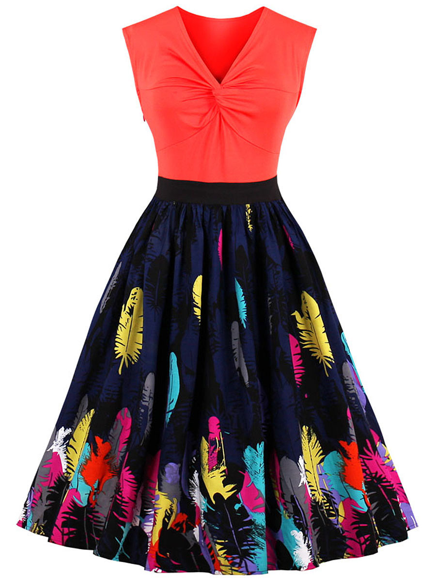 V-Neck Multi-Color Feather Printed Skater Dress