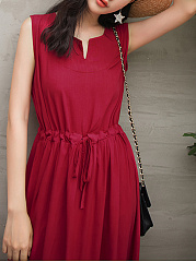 Sweet Heart  Drawstring  Plain Maxi Dress