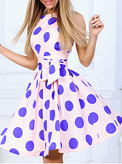 Round Neck  Belt  Polka Dot Skater Dress