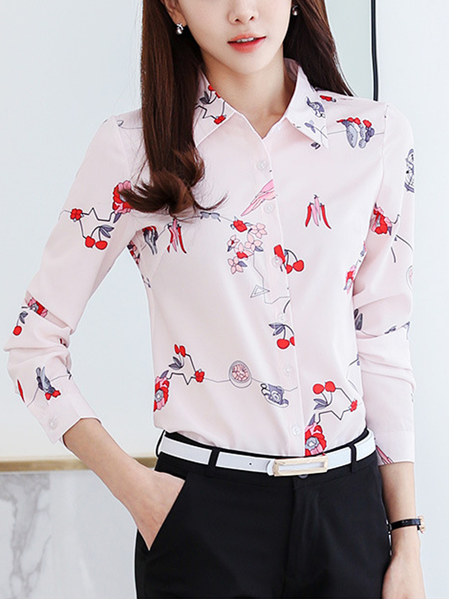 Delightful Printed Long Sleeve Blouse