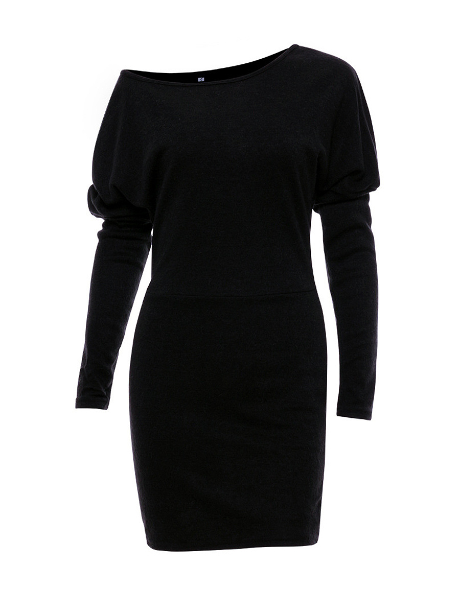 One Shoulder Batwing Sleeve Plain Bodycon Dress