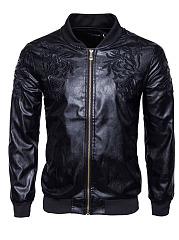 Black-Embroidery-PU-Leather-Men-Jacket