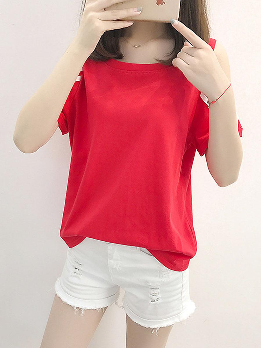 Open Shoulder  Striped Short Sleeve T-Shirts
