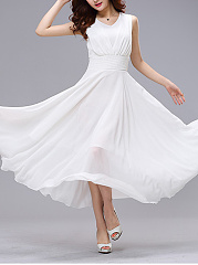 Summer V-Neck Hollow Out Plain Chiffon Maxi Dress