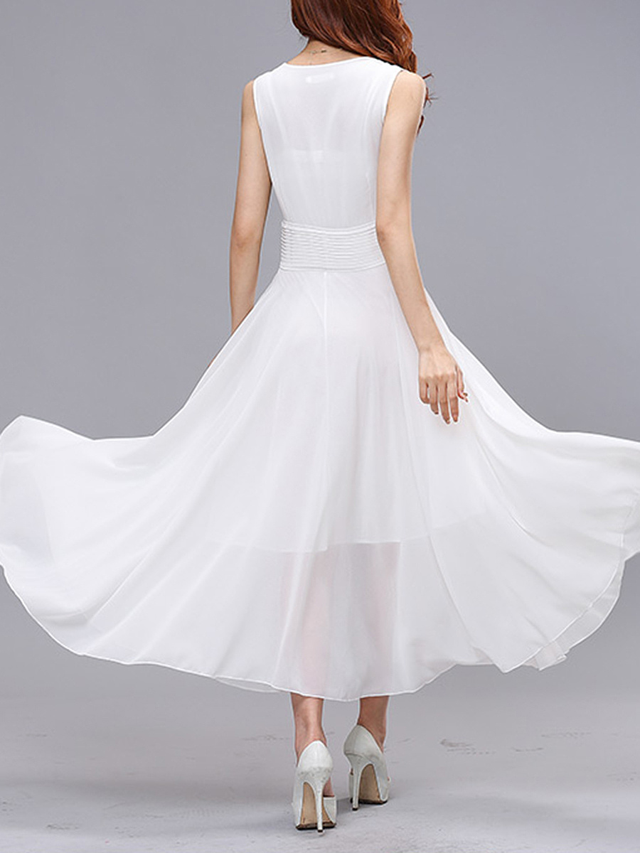 Summer V-Neck Hollow Out Plain Chiffon Maxi Dress