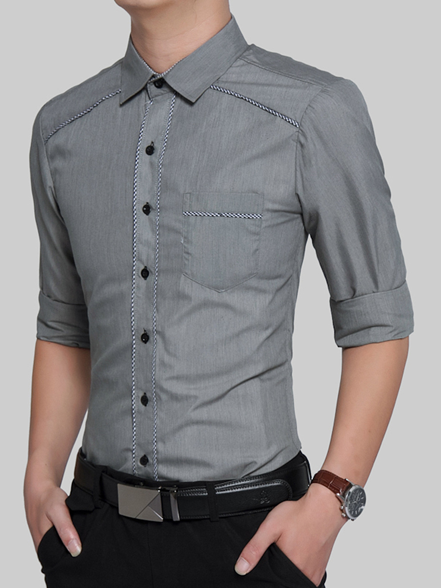 Contrast Trim Turn Down Collar Men Shirts