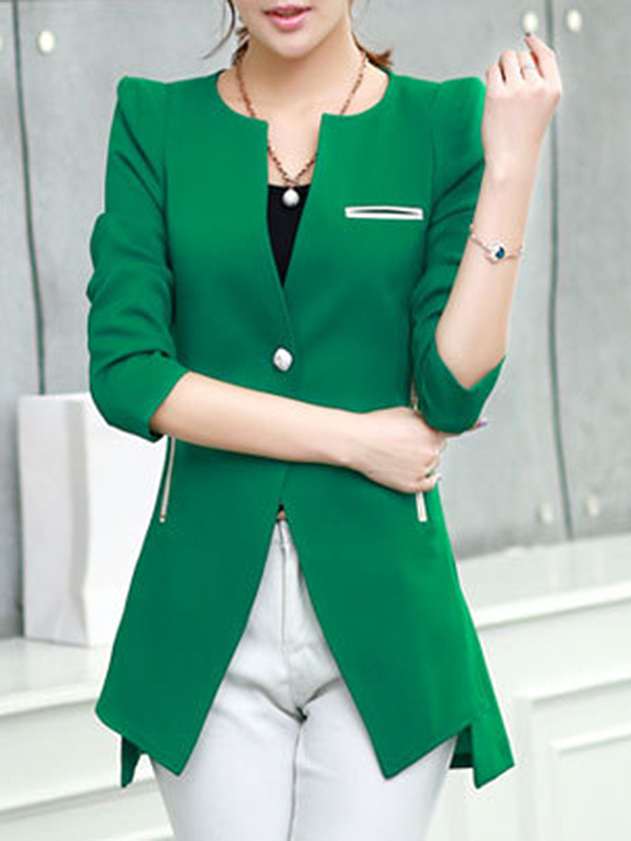 Modern Zips Pocket Single Button Blazer