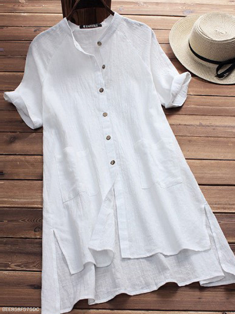 Spring Summer  Cotton  Women  Round Neck  Asymmetric Hem Patch Pocket Single Breasted  Plain  Short Sleeve Blouses