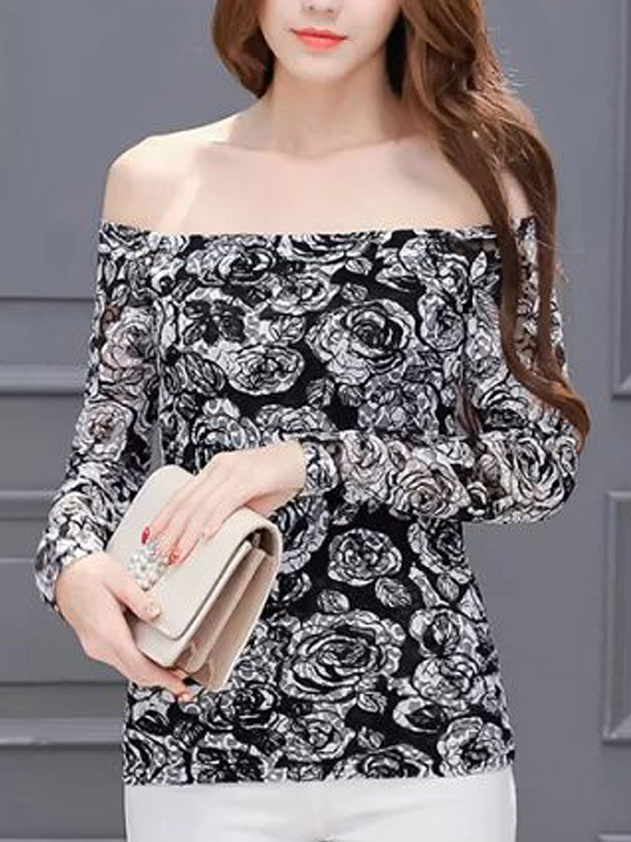 Autumn Spring  Lace  Women  Boat Neck  Decorative Lace  Floral  Long Sleeve Blouses