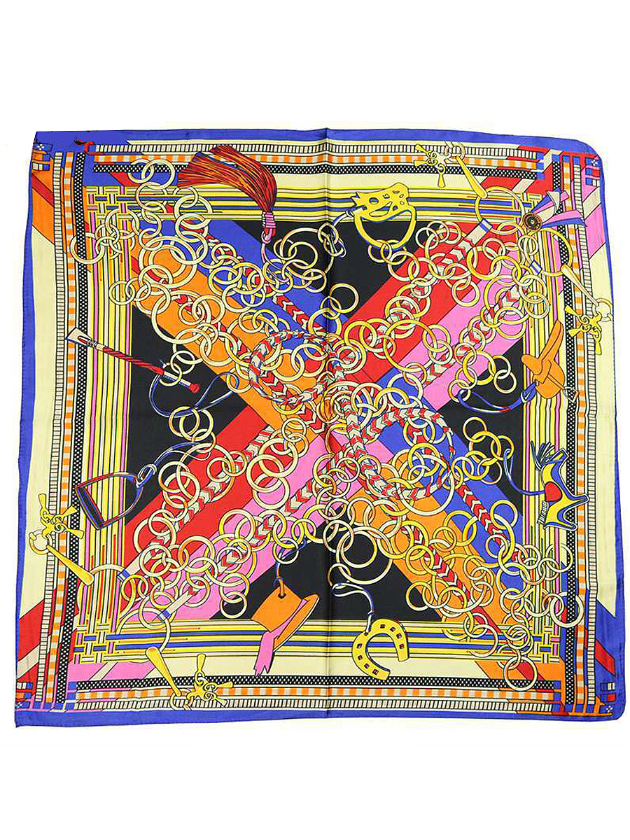 Vintage Gold Chain Silk Squared Scarf