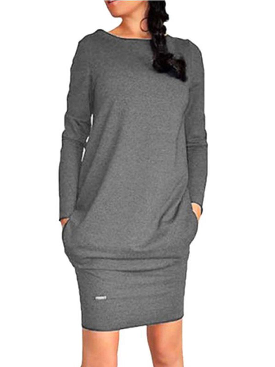 Crew Neck  Plain  Blend Bodycon Dress