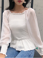 Autumn Spring  Mesh  Women  Open Shoulder  Elastic Waist See-Through  Multi-Way  Plain  Long Sleeve Blouses