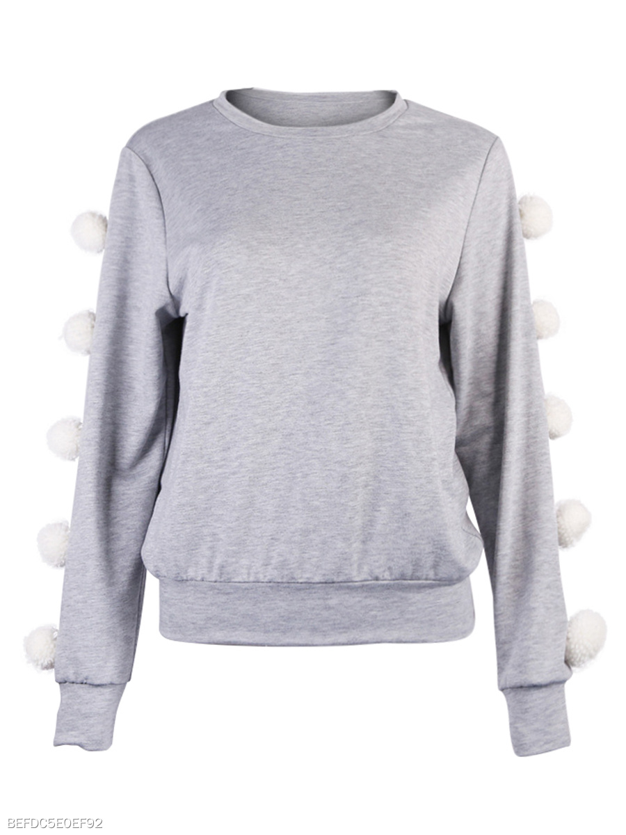 Cute Fur-Ball Round Neck Sweatshirts