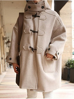 Hooded  Decorative Button  Plain  Long Sleeve Coats