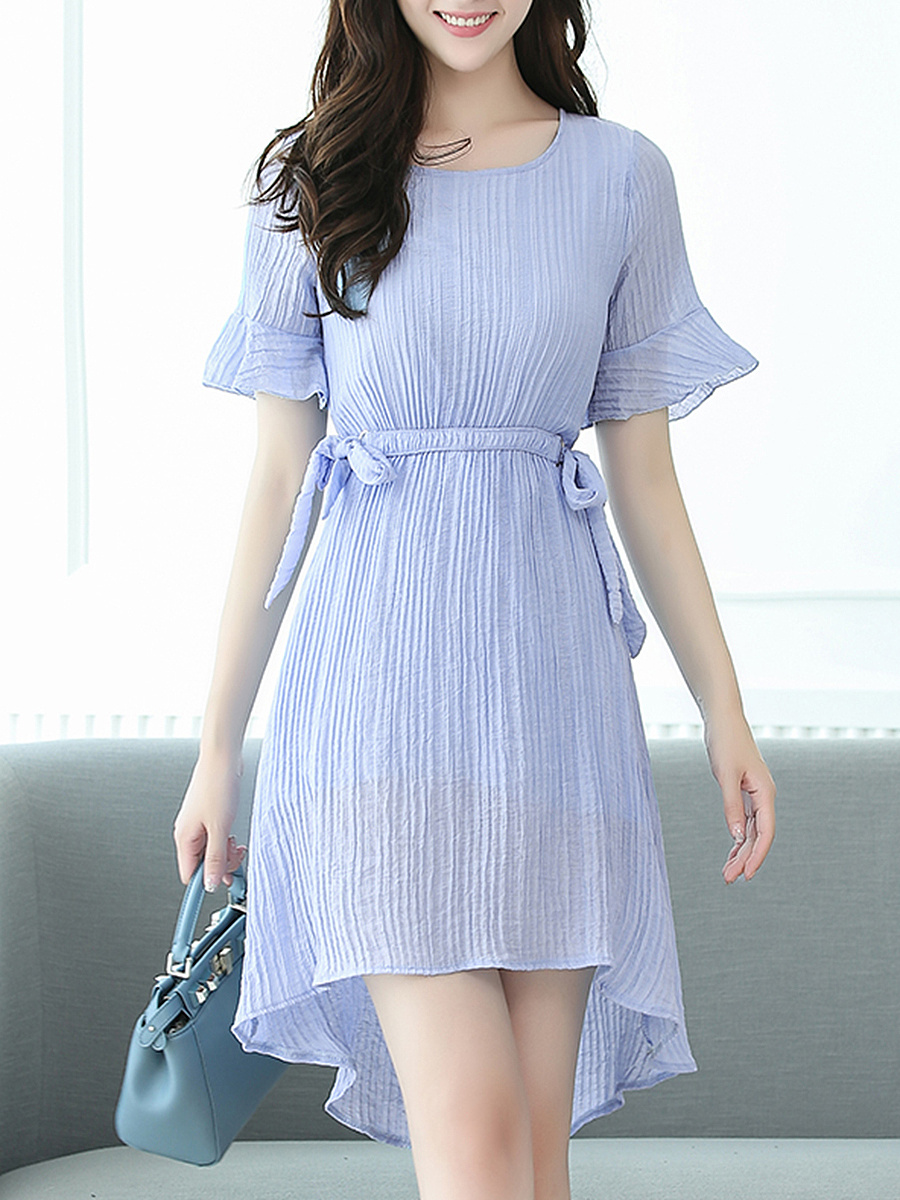 Bell Sleeve Bowknot Plain High-Low Pleated Skater Dress