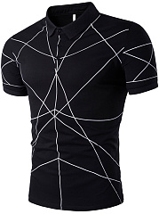 Polo Collar Men Geometric T-Shirt