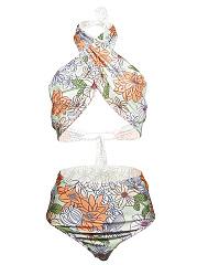 Halter-Floral-Printed-Bikini