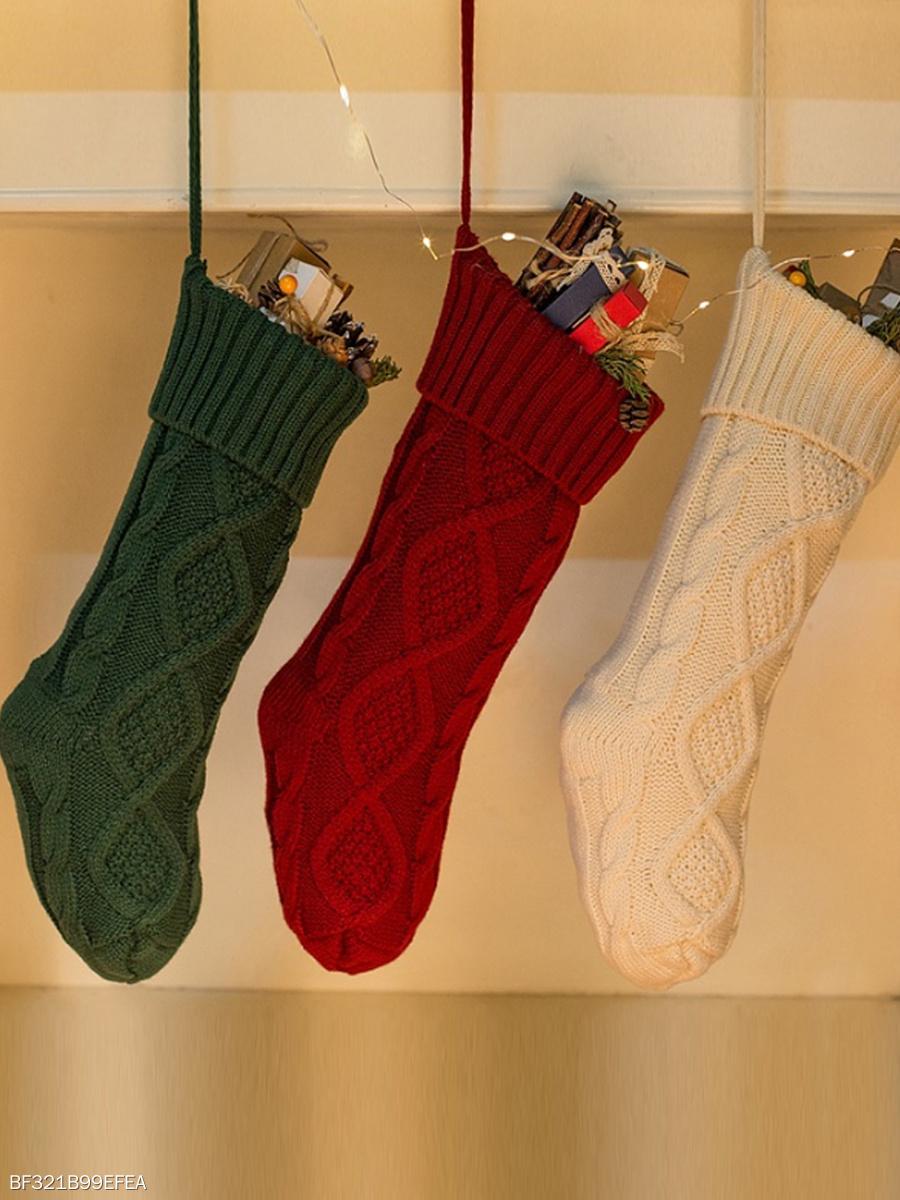 Knit Decorative Christmas Stocking - fashionMia.com