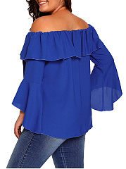 Off Shoulder Flounce Plain Bell Sleeve Plus Size Blouse