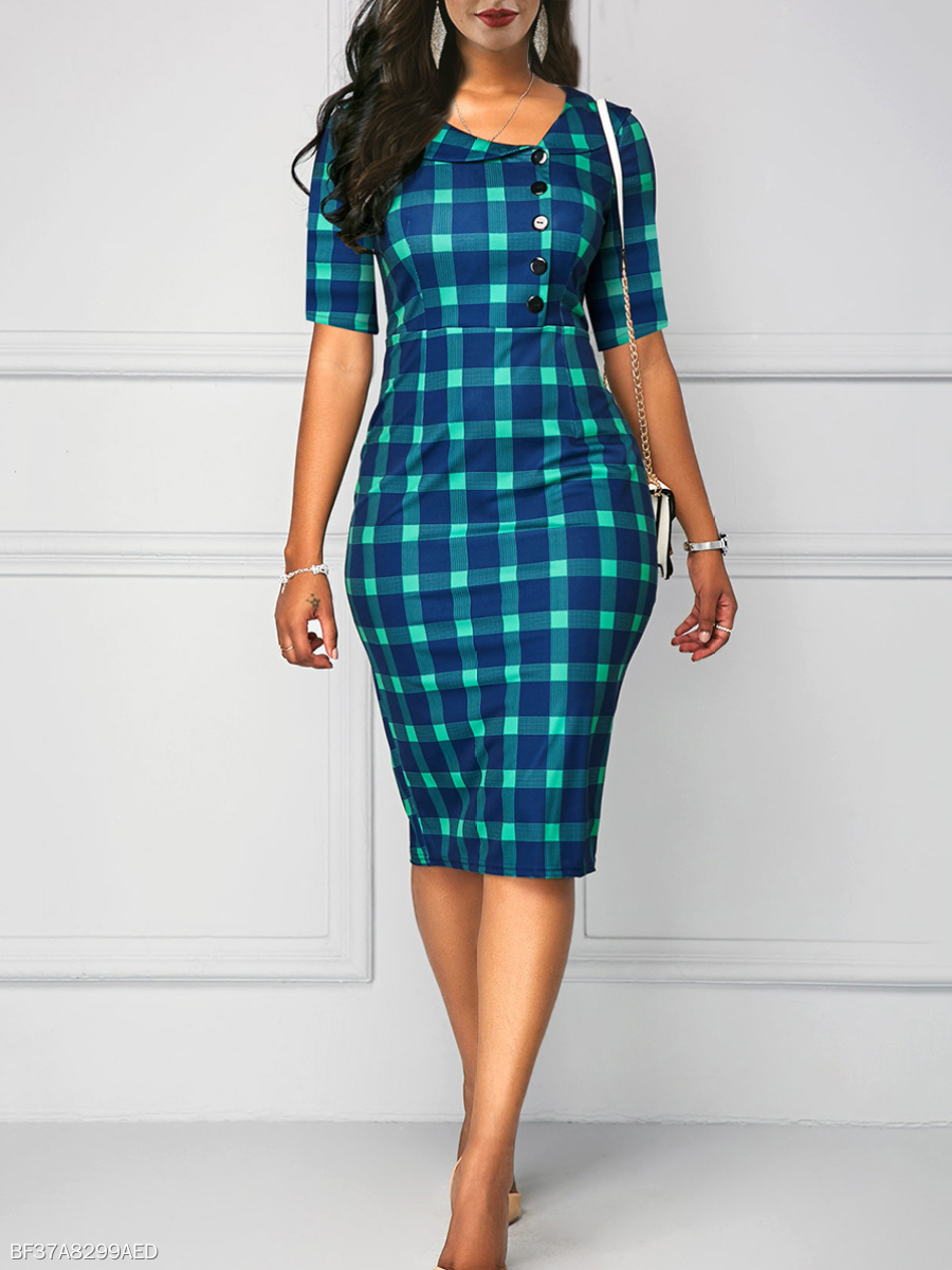 Doll Collar  Plaid  Blend Bodycon Dress