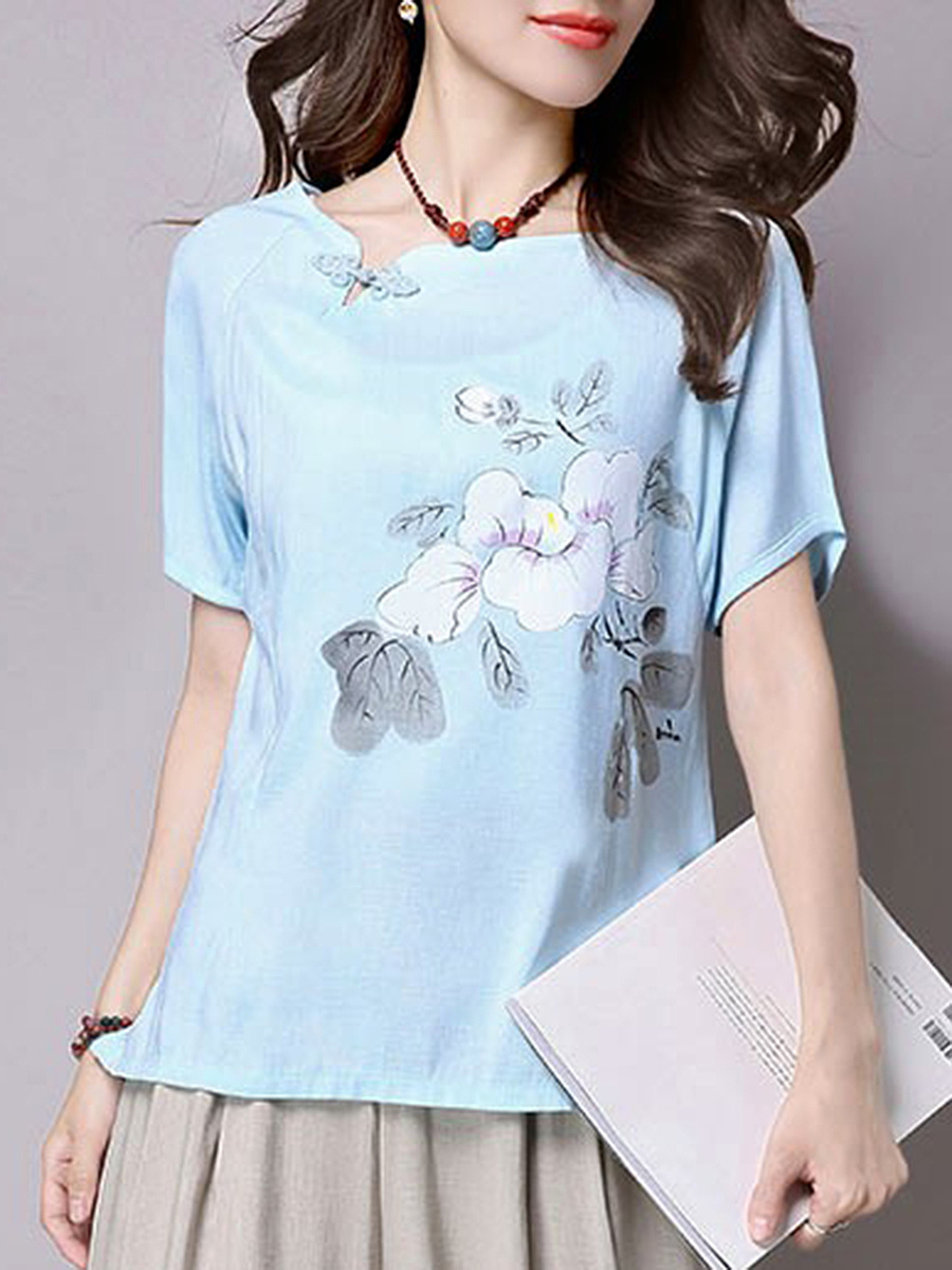 Asymmetric Neck Floral Printed Short Sleeve T-Shirt