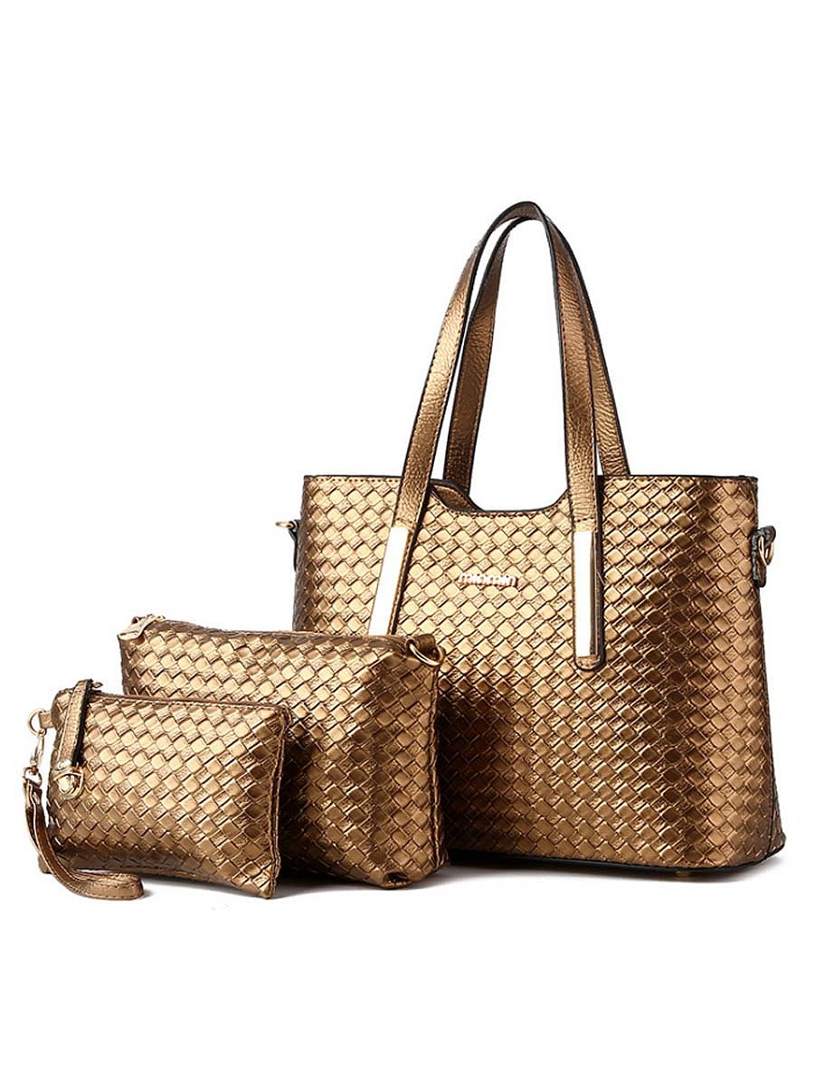 Plain Pu Weave Three Pieces Bags