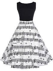 Music Note Printed Round Neck Color Block Skater Dress