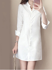 Turn Down Collar  Plain Shift Dress