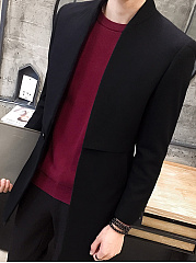 Band Collar Single Button Plain Gentlemen Woolen Men Coat