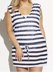 V-Neck  Drawstring  Striped Plus Size Bodycon Dresses