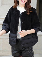 Collarless  Patchwork  Plain  Three-Quarter Sleeve Coats