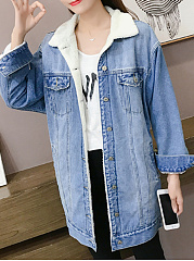 Fold-Over Collar  Flap Pocket Single Breasted  Distressed Plain  Long Sleeve Coats