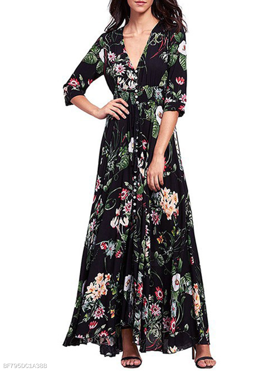 V-Neck Daily  Printed Date Maxi Dress