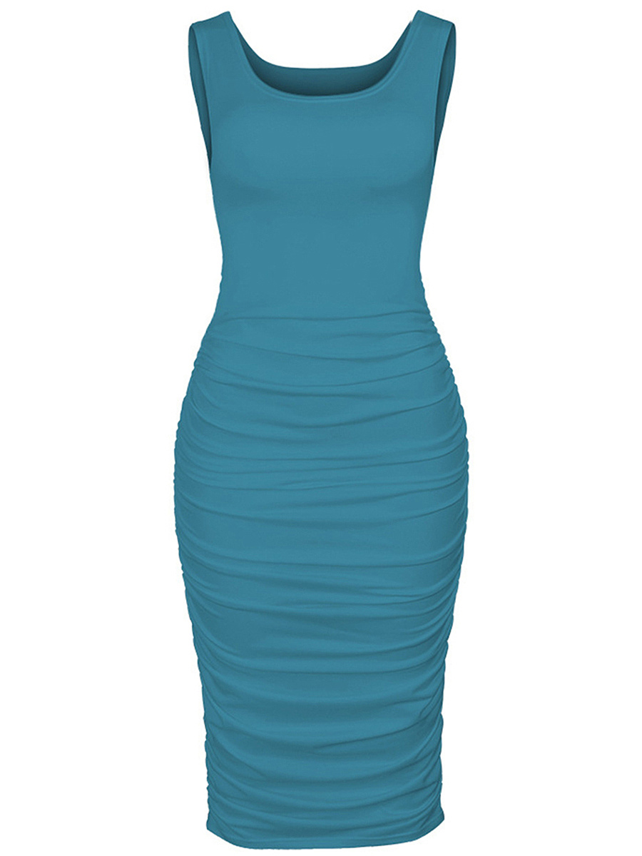 Sexy Solid Ruched Round Neck Bodycon Dress - fashionMia.com