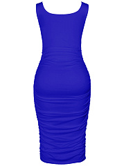 Sexy Solid Ruched Round Neck Bodycon Dress