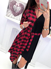 V-Neck  Plaid Skater Dress