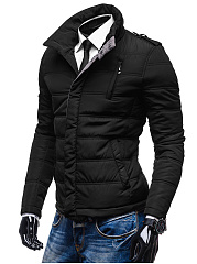 High Neck Pocket Quilted Men Padded Coat