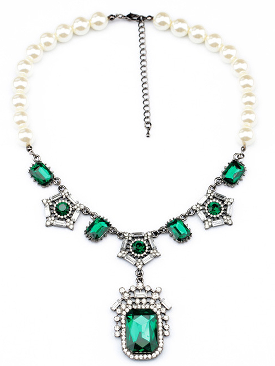 Statement Faux Pearl Crystal Pendant Necklace
