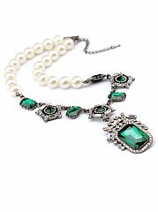 Statement Faux Beads Imitated Crystal Pendant Necklace